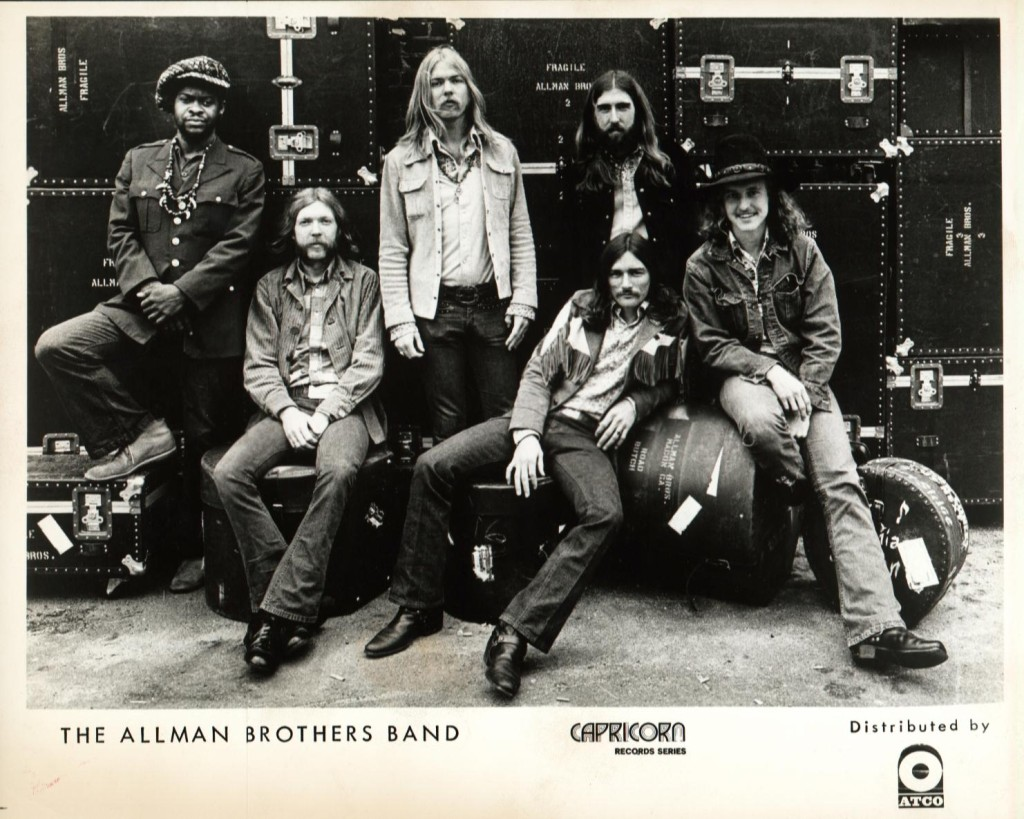 l. to r. standing: Jaimoe, Gregg Allman, Berry Oakley; seated: Duane Allman, Dickey Betts, Butch Trucks